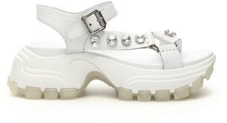 Miu Miu Crystal Band Chunky Sandals