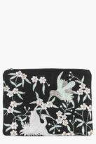 Boohoo Lara Boutique Embroidered Clutch Bag