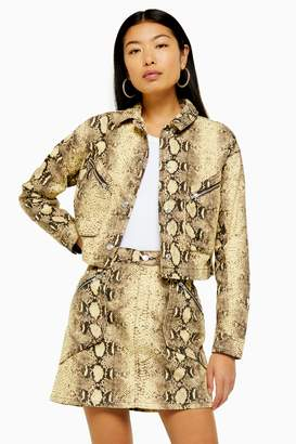 Topshop Womens Yellow Snake Print Denim Jacket - Yellow