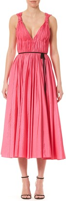 Carolina Herrera Pleated V-Neck Midi Dress