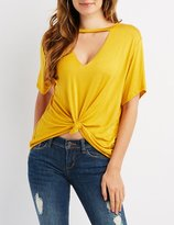 Charlotte Russe Choker Neck Cut-Out Tee