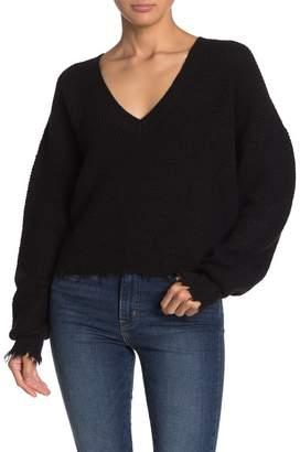 Nation Ltd. Zoe Waffle Knit V-Neck Sweater