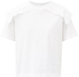 See by Chloe Ruffled Cotton-jersey T-shirt - White
