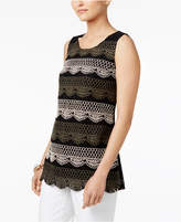 Alfani Contrast Embroidered Lace Top, Created for Macy's