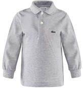 Lacoste Grey Marl Pique Branded Polo