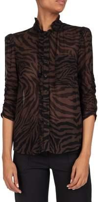 BA&SH Sisco Zebra-Print Button-Front Shirt