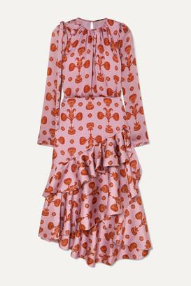 Johanna Ortiz Acordeon Del Mar Asymmetric Ruffled Printed Crepon Midi Dress - Lilac