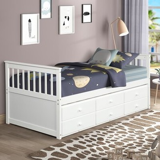 Harriet Bee Norval Twin Platform Bed with Trundle Bed Frame Color: White
