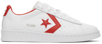 Converse White and Red Leather Pro OG Sneakers
