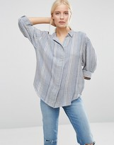 French Connection Serge Stripe Vacation Shirt