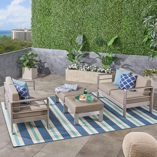 Christopher Knight Home Cape Coral Outdoor 4-Seater Aluminum Loveseat and Ottoman Set