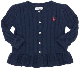 Ralph Lauren Cotton Tricot Cable Knit Cardigan