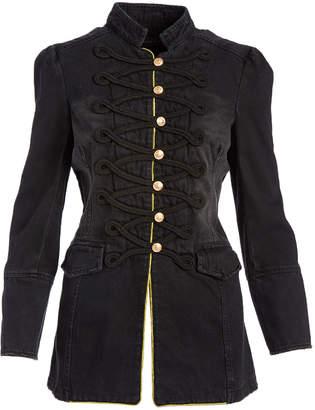 Live A Little Women's Denim Jackets black - Black Military-Front Denim Jacket - Women