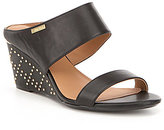 Calvin Klein Phyllis Studded Leather Wedge Sandals