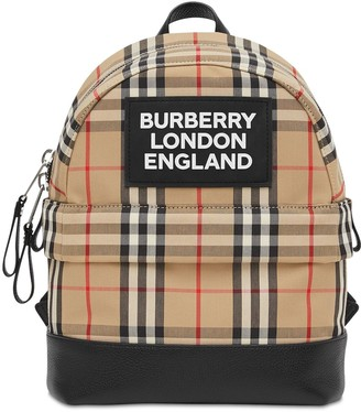 Burberry Check Cotton Canvas Backpack