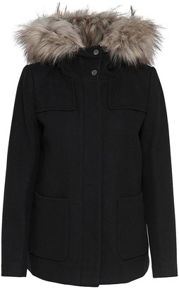 Only Short Hooded Coat with Removable Fur Trim