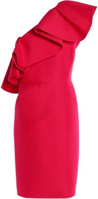 Halston One-shoulder Ruffled Cotton And Silk-blend Dress