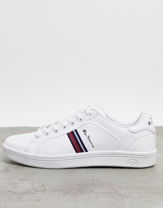 Ben Sherman retro side stripe sneaker in white