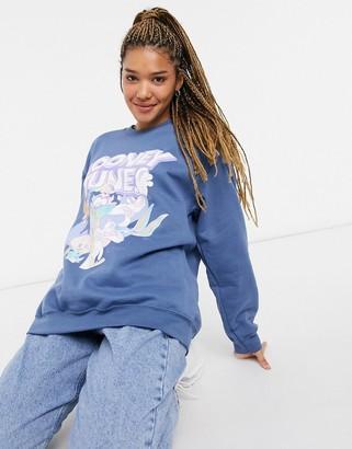 In The Style x Olivia Bowen oversized motif sweatshirt in blue