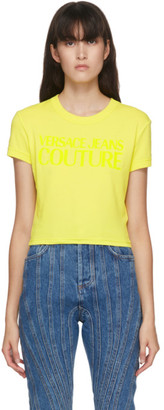 Versace Yellow Cropped Logo T-Shirt