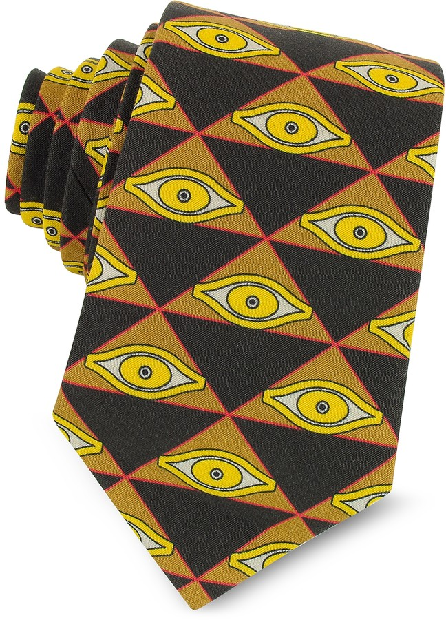 Givenchy Eyes and Triangles Printed Cotton Narrow Tie