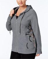 Calvin Klein Plus Size Metallic Zip Hoodie