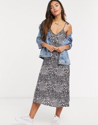 Qed London cami strap slip dress in zebra print