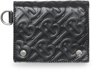 Burberry Monogram Embossed Leather Trifold Wallet