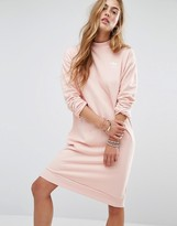 adidas Pastel Camo Sweat Dress In Pale Pink