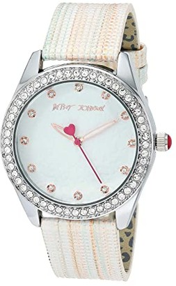 Betsey Johnson Textured Strap Watch (Silver) Watches
