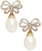 Fine Jewellery 10Kt Yellow Gold Bow Earring With 10 to 8mm Freshwater Pearls And Diamonds