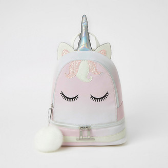 River Island Girls pink unicorn embellished backpack