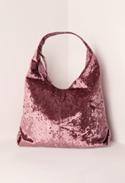 Missguided Velvet Slouch Tote Bag Pink