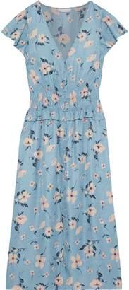 Rebecca Taylor Shirred Floral-print Silk-blend Jacquard Midi Dress