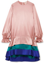 Roksanda Color-block Tiered Silk-satin Dress