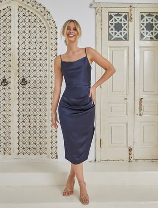 Forever New Laura Satin Cowl-Neck Ruched Midi Dress - Navy - 10