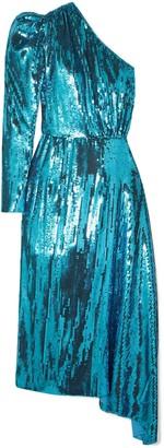 16Arlington One-shoulder Sequined Chiffon Midi Dress