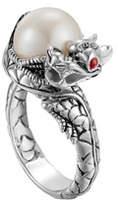 John Hardy Naga Silver Lava Small Dragon Ring with Freshwater Pearl
