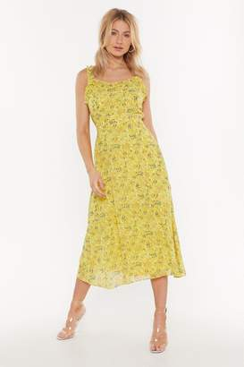 Nasty Gal Womens Open To Love Floral Midi Dress - Yellow - 6, Yellow