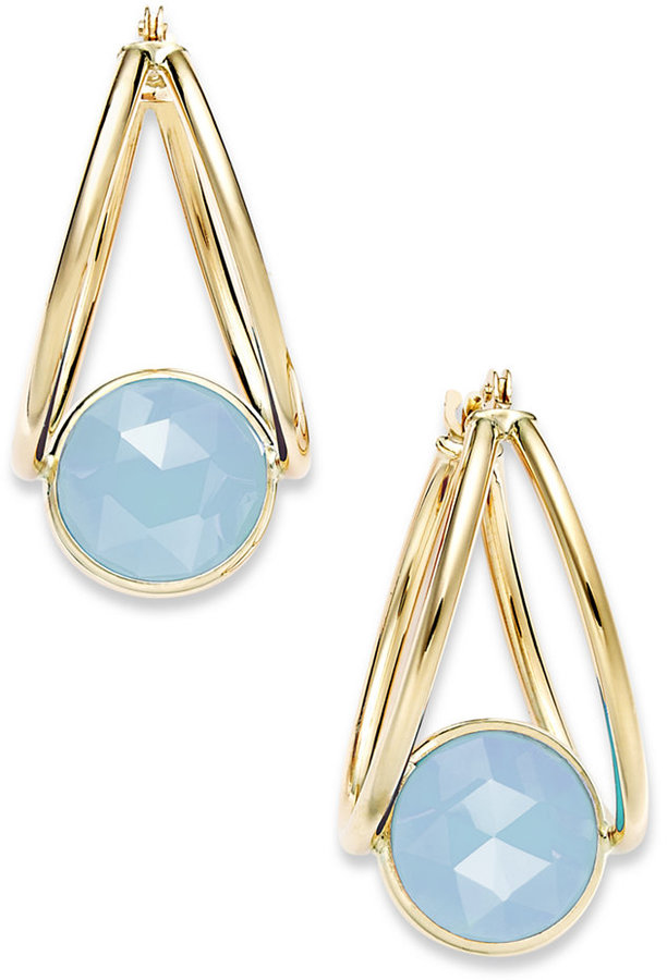 10k Gold Earrings, Medium Blue Chalcedony Double Hoop Earrings (2-1/2 ct. t.w.)