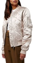 Topshop Women's Shiny Quilted Bomber Jacket