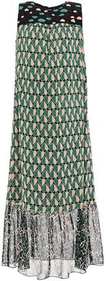 Anna Sui Gathered Printed Silk-chiffon And Georgette Midi Dress
