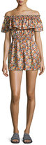 Rebecca Taylor Moonlight Off-the-Shoulder Floral Romper, Orange-Purple