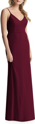 After Six Cowl Back Chiffon Trumpet Gown