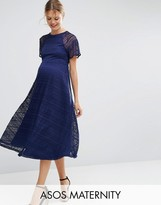 Asos Midi Lace Dress with Flutter Sleeve