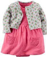 Carter's Baby Girl Lace Bodysuit Dress & Floral Cardigan Set