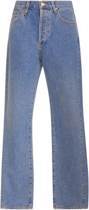 Gold Sign Benefit High-Rise Straight-Leg Jeans
