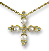 Gold Pearl Cross Necklace