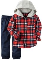 Carter's Toddler Boy French Terry Hooded Plaid Flannel Button-Down Shirt & Jogger Pants Set