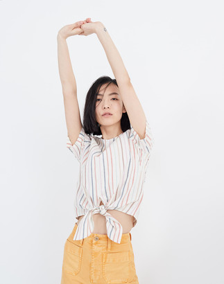 Madewell Button-Back Tie Tee in Rainbow Stripe